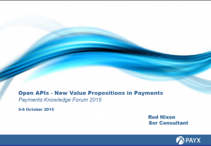PayX – Open APIs – New Value Propositions in Payments